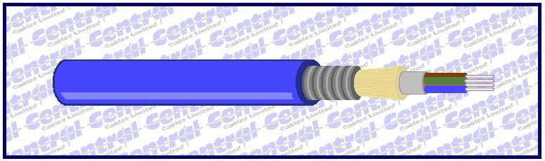 Single-mode OS1 or OS2 fibre optic cable; LT CST Blue